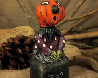Mr. Scaredy Pumpkin  - Handmade Paperclay Art Doll