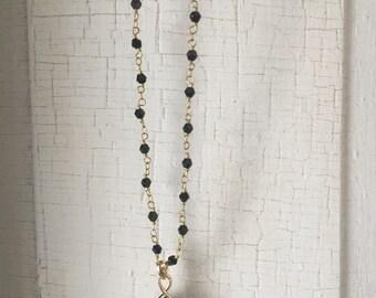 Black crystal pendant necklace, black rosary necklace, black pendant necklace, bohemian jewelry