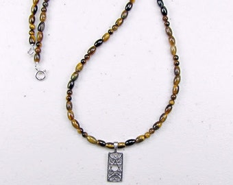 Tiger Eye and Star of David Pendant Necklace