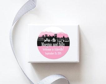 Asheville, NC Custom Wedding Welcome Stickers  -  SKYLINE DESIGN