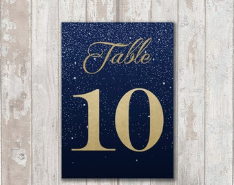 Table Numbers, DIY PDF files.... Starry Night with Faux gold foil