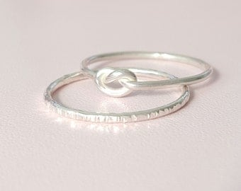 Silver Knot Ring + Silver Sparkle Ring thin sterling silver stacking ring love knot thumb ring midi ring pinky ring knuckle ring