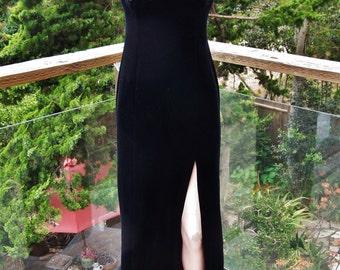 70s Velvet gown, Black velvet dress, velvet bodycon, Long Black gown, 1970s Disco dress, Stretch velvet dress, size S / M