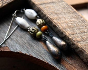 Tall Grass Earrings with Artisan Porcelain, Lampwork, and Stoneware, on Hand-formed Sterling Silver