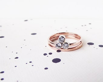 Three Stone 14K Gold Diamond Bridal set _ You are my Sun and Moon ring