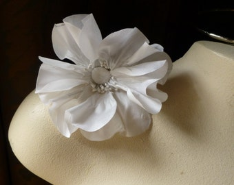 WHITE Poppy Small Silk Millinery Flower for Bridal, Millinery, Sashes, Corsages MF102