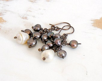 Pearl Cluster Earrings, Baroque Pearl Earrings, Hand Forged Statement Jewellery, Brown Earrings, Copper Earrings, Dangle Pearl Earring