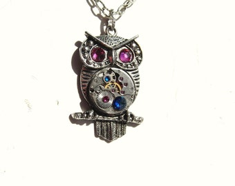 Steampunk Fuchsia and Blue Crystal Athena Owl Necklace