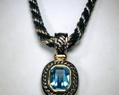Heavy Silver and Black Rope Chain Necklace, Blue Topaz Color Jeweled Pendant, 1980s, Remove Amulet and Just Wear the Snazzy Chain