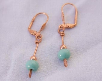 Hammered COPPER GREEN DROP Earrings Handmade