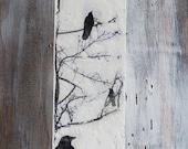 "Blackbirds in the Tree Original Encaustic Painting Black & White Modern Urban Bird Crow 24"" x 6"" x 2"""