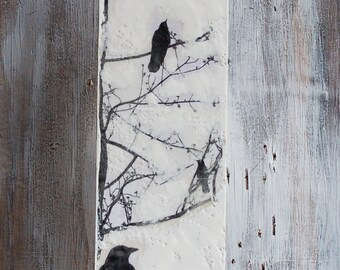 "Blackbirds in the Tree Original Encaustic Painting Black & White Modern Urban Bird Crow 24"" x 6"" x 2"""