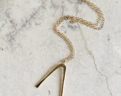 Modern Wishbone Necklace. Small Gold Necklace. Small Charm Necklace. Chevron. 14K Gold Fill. Gold and Brass. Modern. Minimal. Simple.