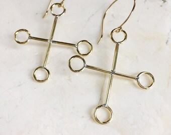 Gold Earrings. Glyph Symbols. Statement Earrings. Gold Dangles. Large Brass Earrings. Cross Earrings. Mystic Dangles. Gold Fill Hooks.