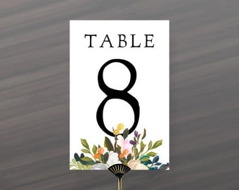 30 Floral Table Number Cards 4x6  | 30 Tables Included in 3 Files | Instant Download Table Number Cards | Price Reduced