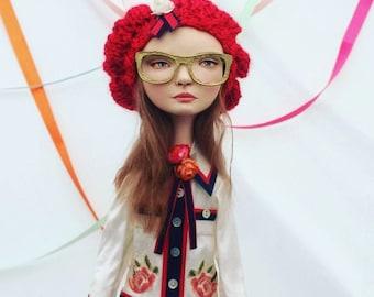 "OOAK Sculpted High Fashion Art Doll ""Cara"" Gucci Inspired"