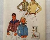 "Simplicity 7051, Vintage 1975 Misses Western Shirt Sewing Pattern, Size 12, Bust 34"" UNCUT"