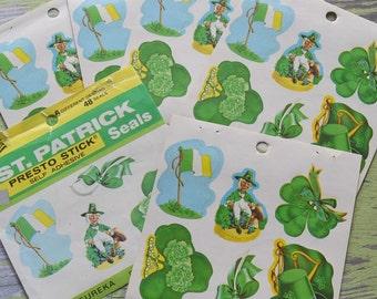 Vintage Eureka St. Patrick's Day 37 Seals Leprechaun Clover Pipe Flag