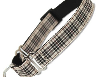 "Furberry Plaid Martingale Dog collar, Limited Slip Collar with Fabric Loop, x-small 5/8"", small 5/8"", medium 3/4"", large 1"", x-large 1"" wide"
