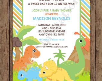 Custom PRINTED Dinosaur Baby Shower Invitations - 1.00 each with envelope