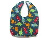 Ready To Ship -  Dinosaurs Baby Bib - Dinosaurs Toddler Bib - Tumbling Dinos Baby Bib - Size 6 Months to 2T #72