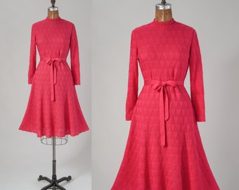 Vintage 1960s Knit Dress, Hot Pink knit with Ruffle Collar, Flared Skirt, 60s Day Dress, Women's Clothing, Dresses