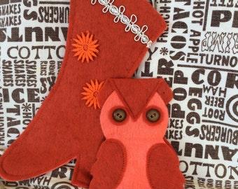 Vintage Owl Sewing Kit & Old Tyme Boat Scissor Holder Handmade Felt Pattern Retro 60's 70's