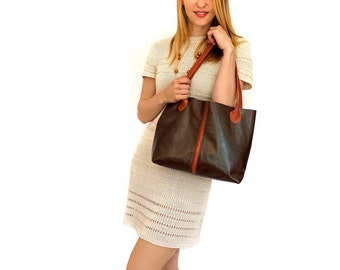 "leather bag – handmade brown bag - leather tote - italian quality leather ""DONATELLA"""