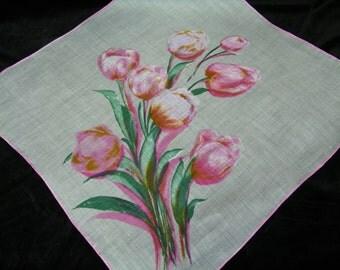 "Vintage 17"" Designer Colette Pink Tulips Floral Wedding Handkerchief or Doily, 9749"