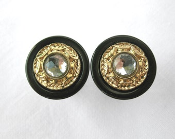 "Pair of Black, Gold, & Rhinestone Plugs - Handmade Girly Gauges - Formal - 7/16"", 1/2"", 9/16"", 5/8"", 3/4"" (11mm, 12mm, 14mm, 16mm, 19mm)"