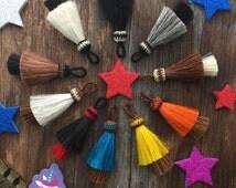 "Double Stack Horse Hair Tassels, Handmade Jewelry Tassel, Bohemian, Keychain, 3"" x 1pc / Cowboy, Horse Accessories, Pendant, Supplies"