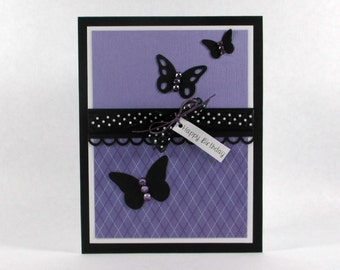 Birthday cards, butterfly card, butterflies, butterfly birthday cards, personalized cards, purple, happy birthday cards