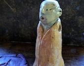 Artisan made ceramic amulet seal pendant - little green monk