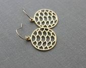 Golden Mermaid Scale Earrings -  circle dangle earrings - 14k gold filled ear wires - Modern Bohemian Earrings - Summer Jewelry - Siren