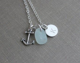 Anchor Necklace, Personalized Charm Necklace with genuine Seafoam Sea Glass Anchor and Initial Charm Sterling Silver, Beach Girl