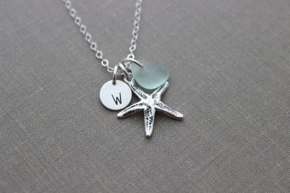 Personalized Charm Necklace with Sterling Silver Starfish, genuine Sea Glass and mini Initial Charm disc, Beach Wedding Bridesmaid Gift