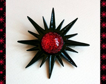 Mid-Century Modern Sunburst Black & Red