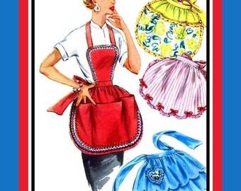 Vintage 1954-PRETTY HOSTESS APRONS-Sewing pattern-Four Styles-Scallop Hem Heart Pocket-Rick-Rack-Petite Bows-Ruffles-Uncut-One Size-Rare