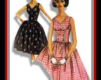 Vintage 1962-RICK RACK TWIRL Dress-Sewing pattern-Two Styles-Wrap Around Bodice-V Neckline-Twirl Skirt-Button Detail-Uncut-Size 12-Rare
