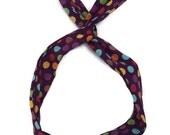 Polka dot purple headband, wire headband, dolly bow, hair band, hair scarf, colorful headband
