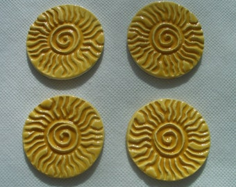 F4 - Stamped YELLOW SUNS - Ceramic Mosaic Tiles
