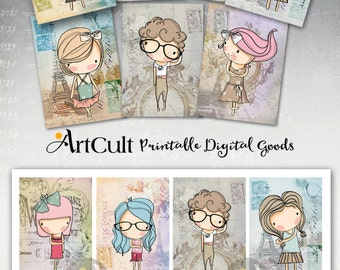 Printable digital images SWEET CARTOON KIDS downloadable art tags, greeting carts, collage sheet, print-it-yourself gift cards teen girls