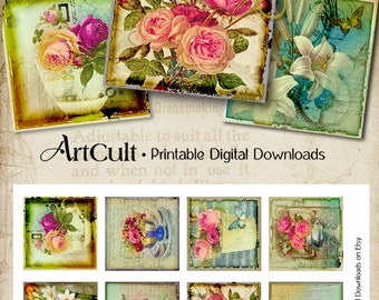 Printable Download VICTORIAN DREAM Digital Collage Sheet 2x2 inch size Images for magnets pendants greeting cards gift tags ArtCult