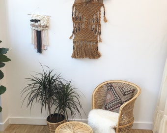 1970s macrame hung on Driftwood