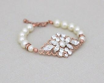 Rose gold bracelet, Pearl Bridal bracelet, Swarovski Wedding bracelet, Rose Gold filigree bracelet, Bridal jewelry, Cuff bracelet, Vintage