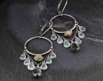 Gemstone chandelier earrings - green tourmalated quartz, aquamarine and pyrite, oxidized sterling silver, dangle hoop earrings - Riverwilde