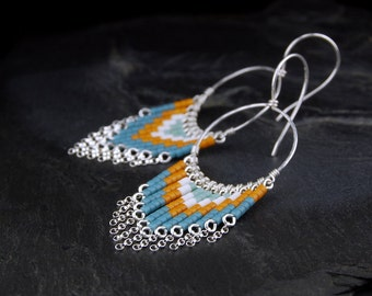 Beaded chandelier earrings, sterling silver hoop earrings, glass seed bead fringe earrings, handmade jewelry - Zola