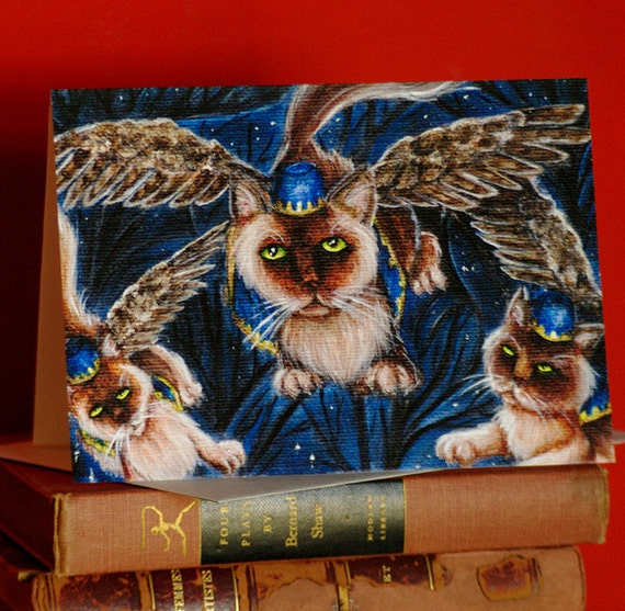 Flying Monkey Cats, Wizard of Oz, Cat Art 5x7 Blank Greeting Card