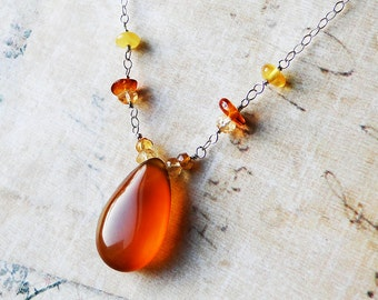 Amber Chalcedony Necklace with Citrine, Amber, Sterling Silver - Cider by CircesHouse on Etsy