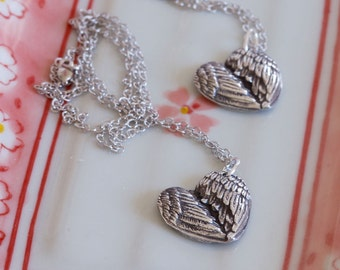 2 Angel Wing Heart Pendant Finger Print Necklaces - Mother's Day Jewelry - His and Hers - Group Necklace